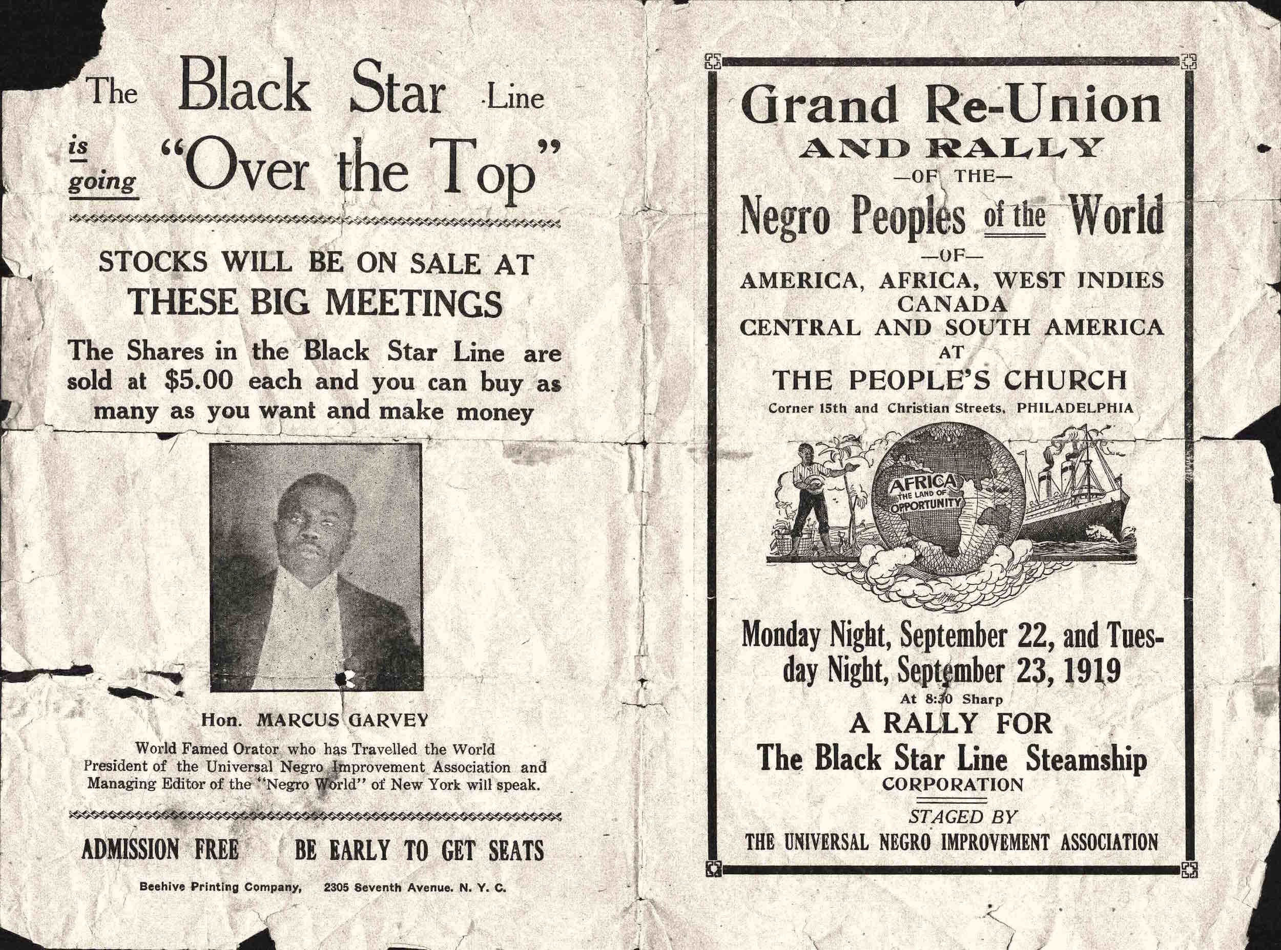 Flyer, U.N.I.A. Grand Reunion and Rally, Philadelphia, PA, 1919