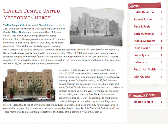 Tindley Temple United Methodist Church oral histories, The Ward: Race and Class in Du Bois' Seventh Ward