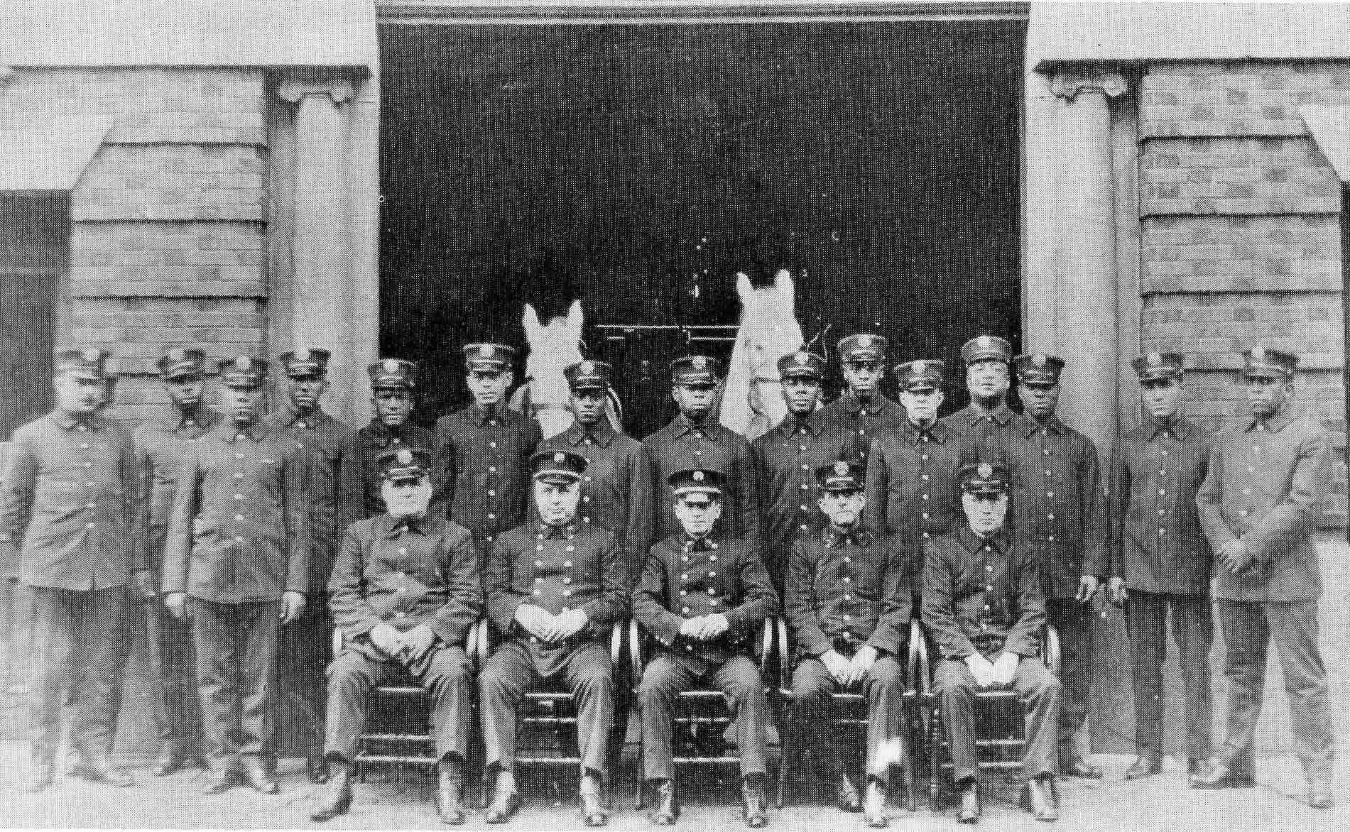 African American Firemen and white officers of Engine Company No. 11, circa 1923